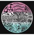Summertime badge with hawaiian motifs vector image vector image