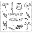 umbrella hand drawn doodle set vector image