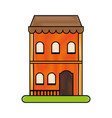 vintage building town or village icon image vector image