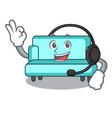 with headphone sofa mascot cartoon style vector image