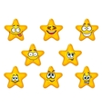 Yellow stars with happy emotions vector image vector image