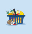 shopping cart with fresh fruit from the shop vector image