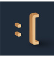 3d wood font character emoticon vector image