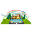 A mother driving the car with her daughter vector | Price: 1 Credit (USD $1)