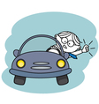 Angry man in his car vector image