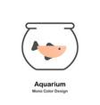 aquarium mono color icon vector image vector image