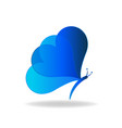 blue heart butterfly icon vector image vector image