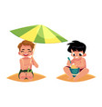 boys playing on the beach - filling bucket hiding vector image vector image
