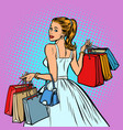 bride shopping woman with bags vector image