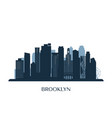 brooklyn skyline monochrome silhouette vector image