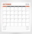 Calendar Planner for 2016 Year October Design vector image