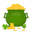 cauldron with gold coins and clover shape vector image vector image