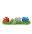 christmas balls and fir tree branches vector image