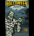 colorful vintage halloween poster vector image vector image