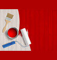 construction tool with paint on a wooden table vector image vector image