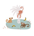 cute cartoon monkey gang childish vector image