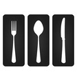 Cutlery Set in Black vector image vector image