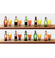 different bottles and glasses with beer set vector image vector image