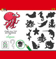 educational shadows game with octopuses vector image vector image