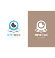 eye and open book logo combination optic vector image vector image