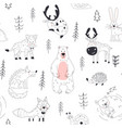 forest animal seamless pattern woodland childish vector image vector image