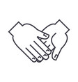 hand in hand line icon sign vector image vector image