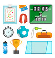 handball icons set handball accessories vector image