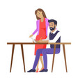 happy couple dreaming about future color banner vector image