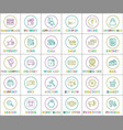 internet web linear outline bright round icons set vector image vector image