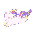 kawaii cute unicorn sleeping sweetly pastel color vector image vector image