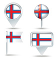 Map pins with flag of Faroe Islands vector image vector image