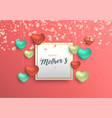 mothers day card with pink hearts and petals vector image