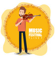 music festival live with man playing violin vector image vector image
