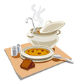 pea soup with croutons vector image