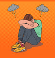 pop art stressed young man sitting on the floor vector image vector image