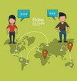 poster of global people with light green vector image vector image