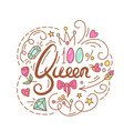queen text the roses and diamond vector image vector image