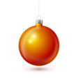 realistic orange christmas ball with silver ribbon vector image vector image