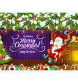 santa claus near fireplace with cup tea vector image