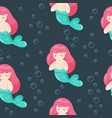 seamless bagirl swimming little mermaid vector image