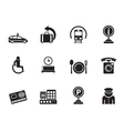 Silhouette airport and transportation icons vector image vector image
