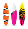 surfboard with various item icon on it set vector image vector image
