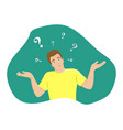 surprised young man shrugs vector image vector image