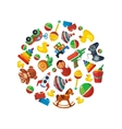 Toys icons for kids in circle shape vector image vector image