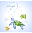 Turtle and Fish vector image vector image