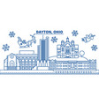 usa ohio dayton winter city skyline merry vector image vector image