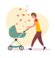 walking mother ride toddler in prams on a vector image
