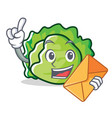with envelope lettuce character cartoon style vector image