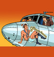 women pilots girls pinup man on fuselage a vector image vector image