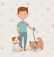 young man with cute dogs mascots vector image